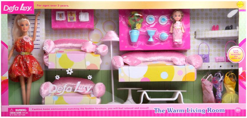 Obývák pro panenky s dvěmi panenkami